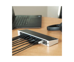 StarTech.com Dual-Monitor KVM USB 3.0 Docking Station for Two Laptops - Wired - USB 3.0 (3.1 Gen 1) Type-B - 3.5 mm - USB Type-A,USB Type-B - 10,100,1000 Mbit/s - IEEE 802.3,IEEE 802.3ab,IEEE 802.3u