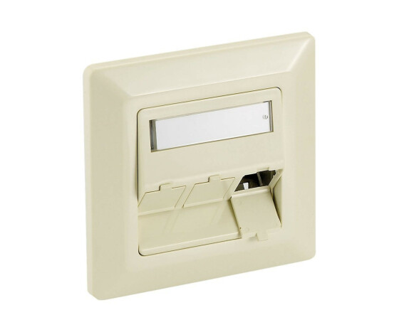 equip 3-Port German Faceplate - Pearl White - White - ABS synthetics,Aluminium - Conventional - Universal - RJ-45 - 80 mm