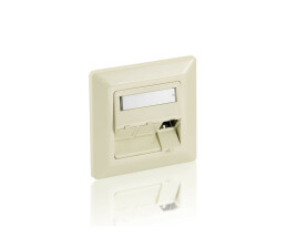 equip 3-Port German Faceplate - Pearl White - White - ABS...