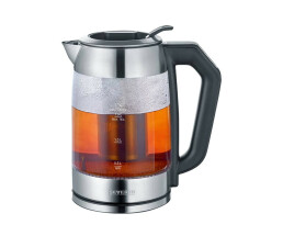 SEVERIN WK 3477 - Tee-/Wasserkocher - 1.7 Liter - 2200 W - glass/brushed stainless steel/black
