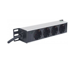 Intellinet 25.4cm 10Zoll socket 4 Schuko power LED without overvoltage protection 1