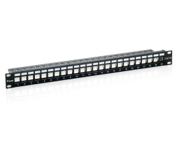 equip 24-Port Keystone Cat.6 Shielded Patch Panel - Black...