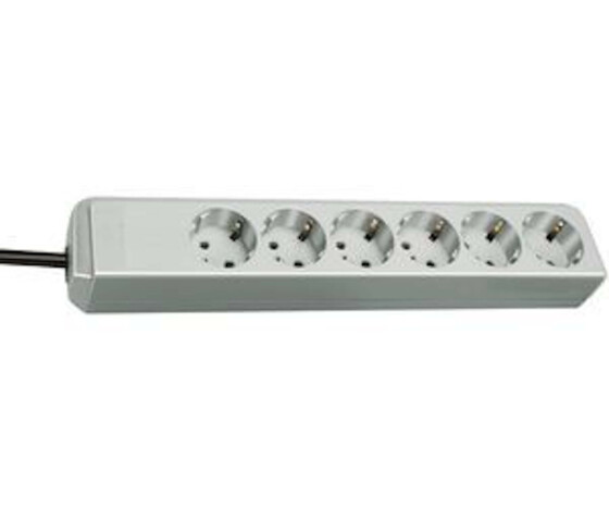 Brennenstuhl Eco-Line - 6 AC outlet(s) - Type H - 1.5 m - Grey - 330 mm