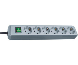 Brennenstuhl Eco - 1.5 m - 6 AC outlet(s) - Grey - Grey