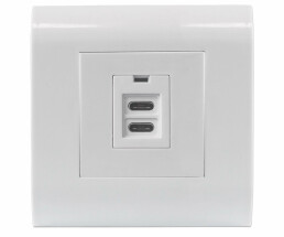 Intellinet 2-Port USB-C Wall Outlet with Faceplate - Two Charging Ports - 5 V / 2.1 A Output - 80 x 80 European Faceplate - USB C - -10 - 40 °C - White - 100 - 240 V - 50 - 60 - 5 V