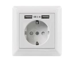 Intellinet 2-Port USB-A Wall Outlet and CEE 7/3 Socket...
