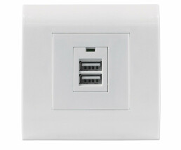 Intellinet 2-Port USB-A Wall Outlet with Faceplate - Two...