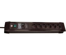 Brennenstuhl PDU with interference filter and surge protection - 6 AC outlet(s) - 3 m - Black