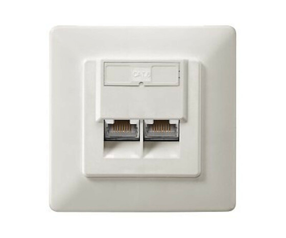 equip Cat.6 German Modular Faceplate - RJ-45 - -40 - 80 °C - White - Polycarbonate - 80 mm - 39 mm
