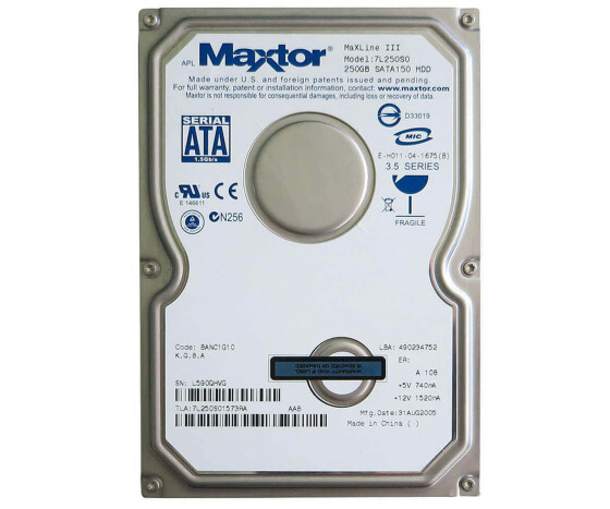 "Maxtor MaxLine III - Hard drive - 250 GB - 7L250S0 - 3.5 ""- Internal - HDD"