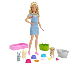 Mattel bathing fun with animals and doll puppetube...