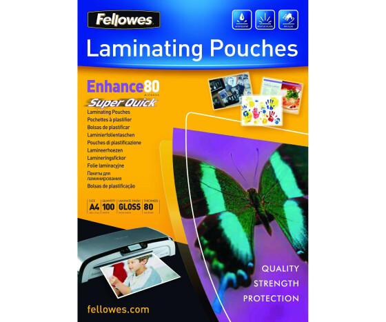Fellowes Laminating Pouches SuperQuick Enhance 80 micron - 80 Mikron - 100er-Pack - glänzend - durchsichtig - A4 (210 x 297 mm)