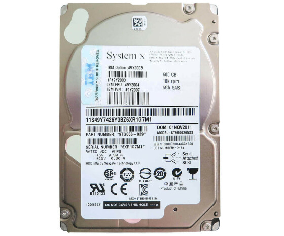 "IBM 49Y2007 - Hard Drive - 600 GB - 10000 rpm - 2.5 ""- SAS"