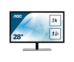 "AOC U2879VF - LED-Monitor - 71.1 cm (28"") - 3840 x 2160 4K UHD (2160p) - TN - 300 cd/m² - 1000:1 - 1 ms - HDMI (MHL), VGA, DVI-D, DisplayPort - schwarz & silber"