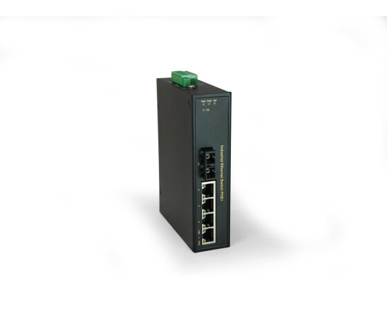 LevelOne 5-Port Fast Ethernet PoE Industrial Switch - 4 PoE Outputs - 802.3at/af PoE - 1 x SC Multi-Mode Fiber - 2km - 126W - -40°C to 75°C - Unmanaged - Fast Ethernet (10/100) - Full duplex - Power over Ethernet (PoE) - Wall mountable