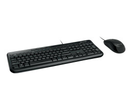 Microsoft Wired Desktop 600 - DE - Wired - USB - QWERTZ - Black - Mouse included