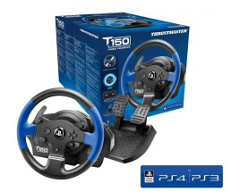 ThrustMaster T150 Force Feedback - Steering wheel + Pedals - PC,PlayStation 4,Playstation 3 - D-pad,Select,Start - Wired - USB - Black,Blue
