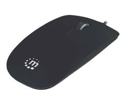 Manhattan Silhouette Sculpted Wired Mouse - Black - 1000dpi - USB - Optical - Lightweight - Flat - Three Button with Scroll Wheel - Blister - Optical - USB - 1000 DPI - Black