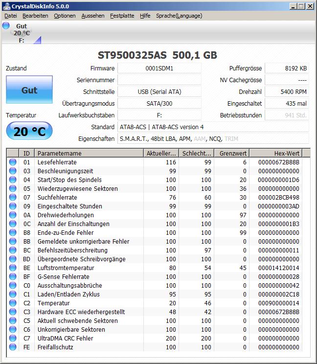 CrystalDiskInfo Übersicht