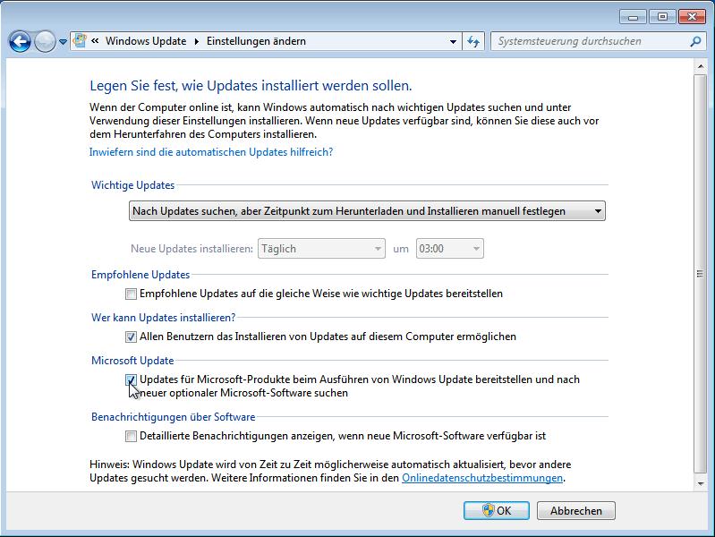 Aktivierung von Microsoft Update