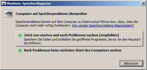 Windows Speicherdiagnose