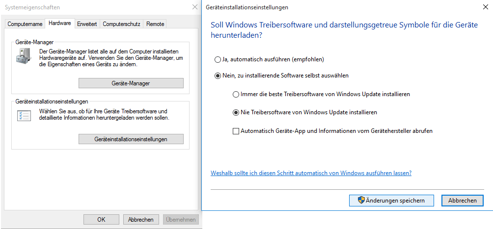 Windows 10 Ger�tetreiberinstallationseinstellungen