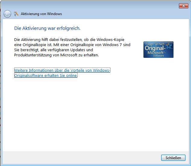Windows 7 Aktivierung erfolgreich abgeschlossen