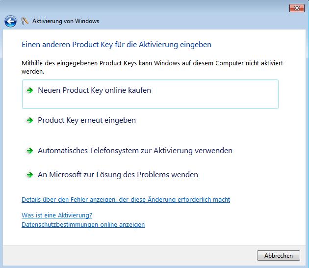 Windows 7 Online-Aktivierung fehlgeschlagen