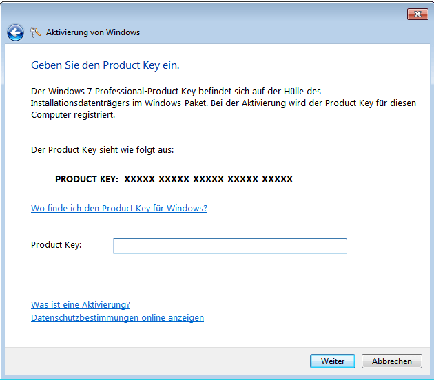 Windows 7 Eingabe des Product Key