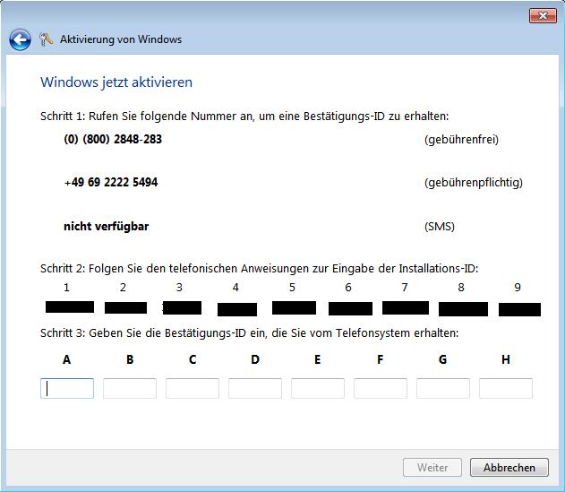 Windows 7 Aktivierung per Telefon